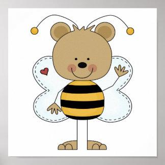 el agitar lindo manosea el oso de la abeja póster