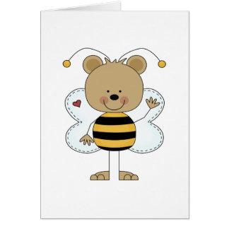 el agitar lindo manosea el oso de la abeja tarjeton