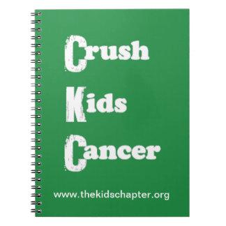 El agolpamiento embroma cuaderno verde del cáncer
