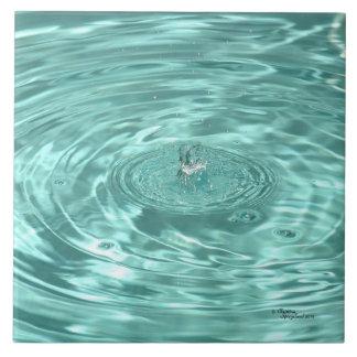 El agua azul cae la teja de las ondulaciones