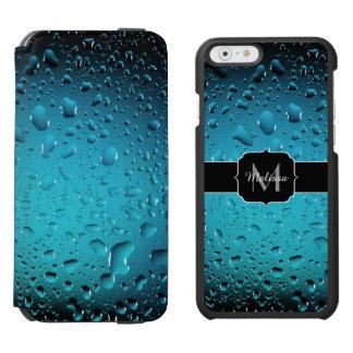 El agua azul fresca elegante cae el monograma funda billetera para iPhone 6 watson