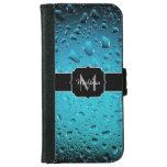 El agua azul fresca elegante cae el monograma carcasa de iPhone 6