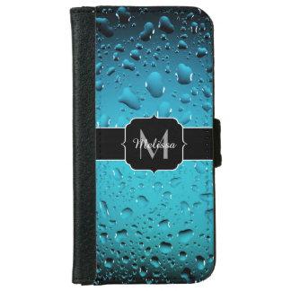 El agua azul fresca elegante cae el monograma funda cartera para iPhone 6