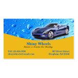 El agua de detalle auto cae la tarjeta de visita