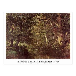 El agua en el bosque por Troyon constante Tarjetas Postales