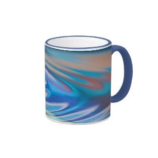 El agua ondula multicolor abstracto de la turquesa tazas