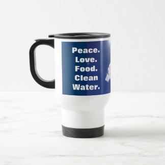 El agua potable de la comida del amor de la paz taza térmica