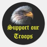 el águila, apoya a nuestras tropas etiquetas redondas