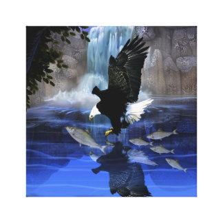 El águila y la cascada impresión de lienzo
