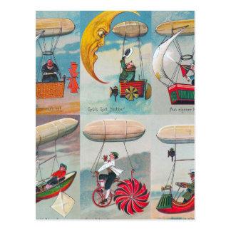 el aire divertido del steampunk trabaja a máquina tarjetas postales