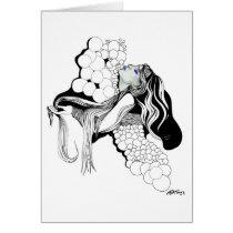 artsprojekt, inspirational, woman, female, beauty, contemporary, portrait, illustration, collage, decor, inspiring, design, modern, air, girl, fantasy, bubbles, blackandwhite, Card with custom graphic design