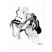 artsprojekt, inspirational, woman, female, beauty, contemporary, portrait, illustration, collage, decor, inspiring, design, modern, air, girl, fantasy, bubbles, blackandwhite, Postcard with custom graphic design