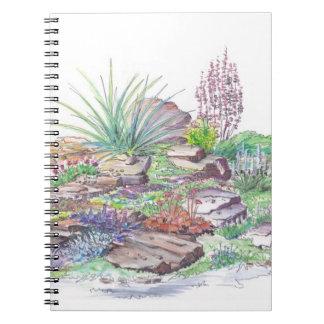 El ajardinar alpino del jardín cuaderno