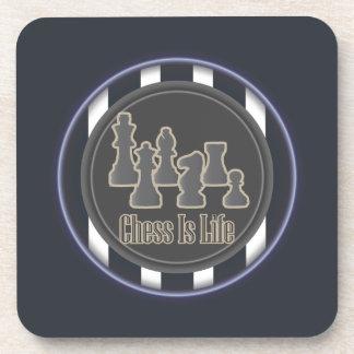 El ajedrez es azul de la vida posavasos de bebida