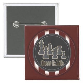 El ajedrez es botón de la Plaza Roja de la vida Pin Cuadrado