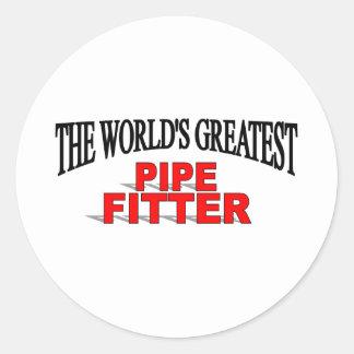 El ajustador del tubo más grande del mundo pegatina redonda