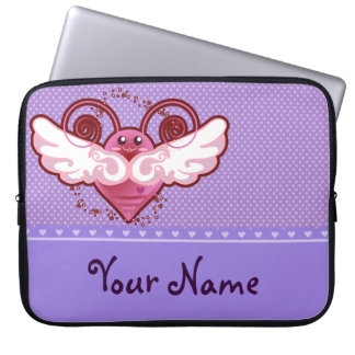 El ala linda manosea la abeja - manga púrpura del  funda portátil