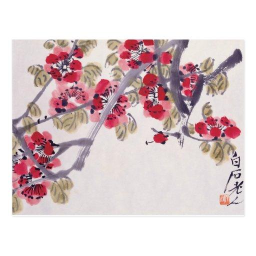 El albaricoque florece postal