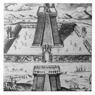 El alcalde de Templo en Tenochtitlan Azulejo Cuadrado Grande