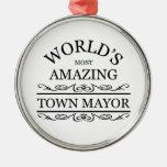 El alcalde más asombroso de la ciudad del mundo adorno navideño redondo de metal