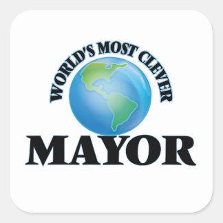 El alcalde más listo del mundo pegatina cuadrada