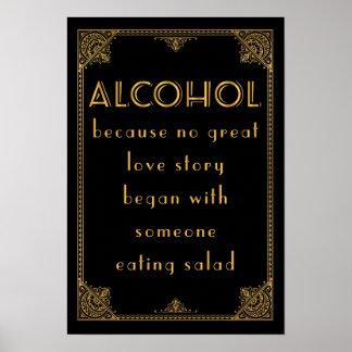 El ALCOHOL bebe la barra Gatsby inspirado casando Póster