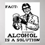 El alcohol es una solución en la química retra poster