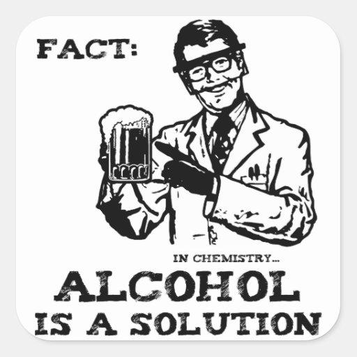 El alcohol es una solución en la química retra pegatina cuadrada