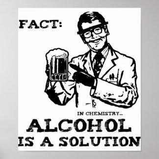 El alcohol es una solución en la química retra póster