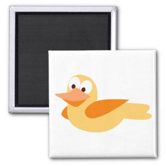 El alegre y divertido pato volando imán de frigorifico
