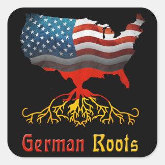 El alemán americano arraiga a los pegatinas pegatina cuadrada