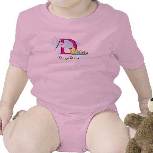 El alfabeto D para la camiseta de los chicas - aña