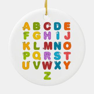 El alfabeto de los niños adorno navideño redondo de cerámica