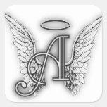 El alfabeto del ángel este último inicial se va pegatinas cuadradas personalizadas