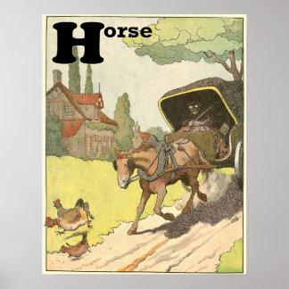 El alfabeto del guión del caballo poster