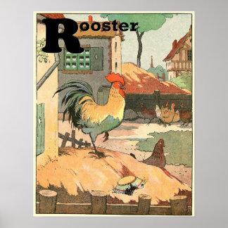 El alfabeto del guión del gallo impresiones
