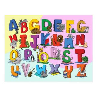 El alfabeto inglés postales