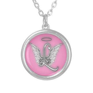 El alfabeto L letra inicial del ángel se va Colgante Redondo