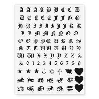 El alfabeto numera tatuajes del nudillo de las tatuajes temporales