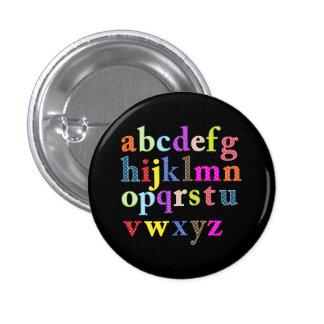 El alfabeto pin redondo de 1 pulgada