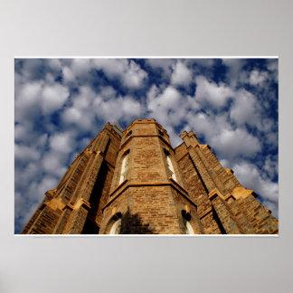 El algodón se nubla el templo de Logan Póster
