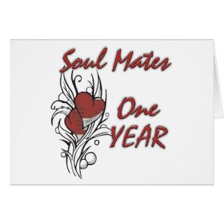 El alma acopla 1 año tarjeta de felicitación