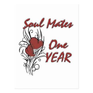 El alma acopla 1 año tarjeta postal