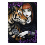 El alma de Fae del tigre acopla la flor Sam Lilah Tarjeta De Felicitación
