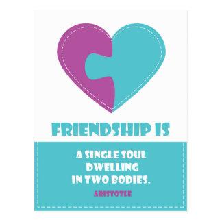 El alma de la amistad y la cita del cuerpo tarjeta postal