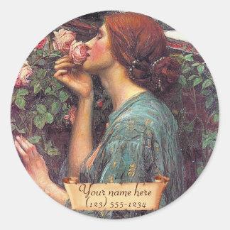 El alma del Bookplate color de rosa del Pre-Raph Pegatina Redonda