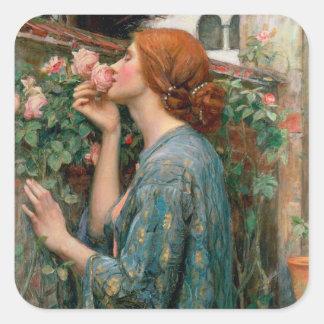 El alma del color de rosa, 1908 pegatina cuadrada
