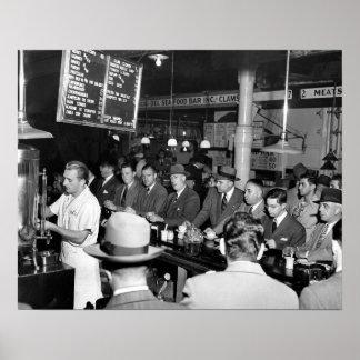 El almuerzo Counter, 1950 de Pete Posters