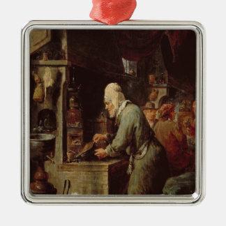 El alquimista adorno navideño cuadrado de metal
