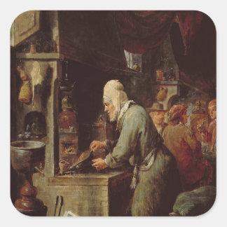 El alquimista pegatina cuadrada